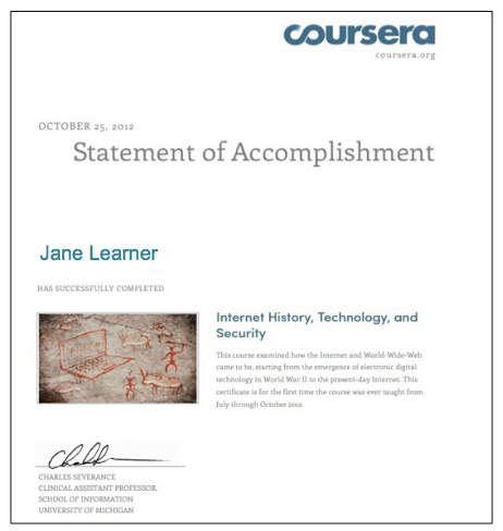 Statement of Accomplishment Coursera