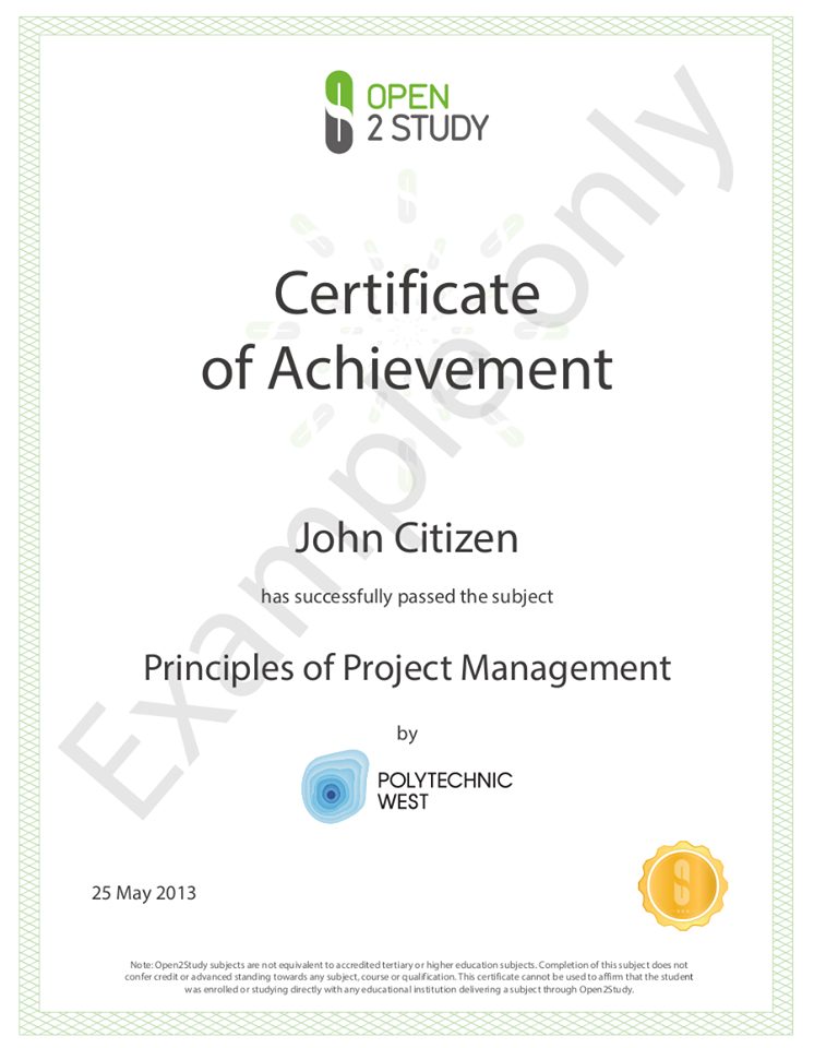certificate of achievement from Open2Study